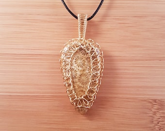 Gold wire wrapped fossil coral triangle pendant necklace