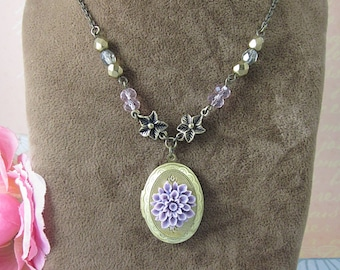 Purple Dahlia Brass Oval Locket Necklace. Gift for her. Anniversary, Birthday, Christmas, Valentine's.