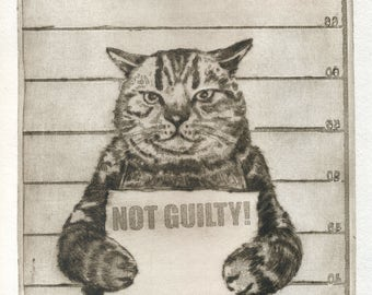 "Original etching ""Not Guilty!"""