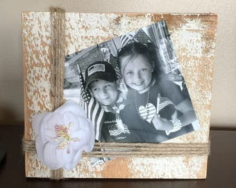 Rustic Barnwood Photo Holder   Distressed Wooden Photo Square   Barnwood Picture Holder   Reclaimed Wood Picture Frame