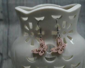 Earrings Butterfly pink stainless steel