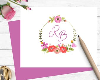 Watercolor monogram stationery, Personalized stationary set for girls, thankyou note cards, custom stationery set, folded notecards, MS010