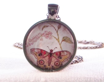 Wearable Art Pendant...Butterfly and Pink Flower, Nature Gift, Birthday Gift