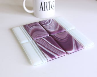 Purple Swirls Fused Glass Coasters , Home Decor Housewares Set of 4  Fused Glass Art  Hostess Gift  Home Decor, GetGlassy