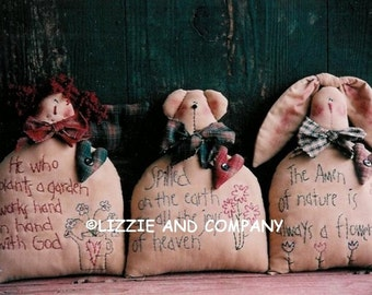 SPRiNG SiTTeRs - ANNiE - BeaR - BuNNy - SHeLF SiTTeRs - PDF ePattern - Primitive and Whimsical