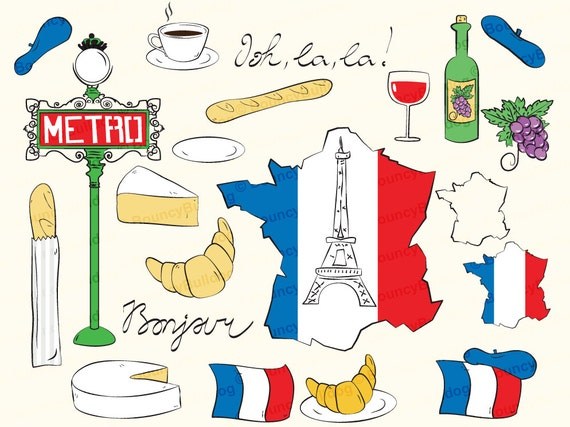 france clipart eiffel tower paris clipart map french flag rh etsy com French Flag Clip Art French Words Clip Art