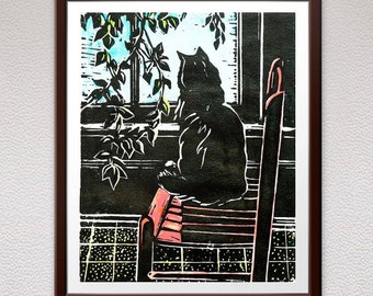 Cat, Chair, Linocut Print, Relief Art Print, Lino Cut Print, Block Print, Wall Art, Linoleum Print, Christmas, Gift, For Him, For Her, Art