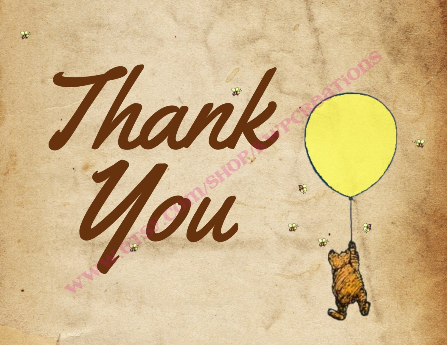 Winnie the Pooh Thank You Card Instant Download