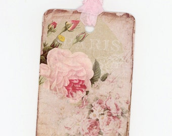 Shabby Rose Gift Tags , Pink Rose Tags , Spring Gift Tags , Bluebird Lane Tags