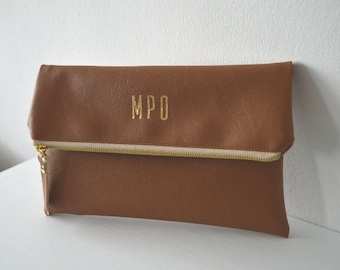 Bridesmaid Gift, Monogrammed Clutch Purse, Personalized Wedding Clutch Bag with Gold Print Monogram