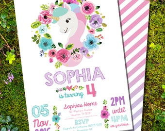 Unicorn Party Invitation - Glitter Unicorn Invitation - Instantly Download and Edit at home with Adobe Reader
