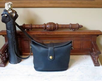 Dads Grads Sale Coach Binocular Bag In Black Leather With Brass Hardware And Crossbody Strap Style No. 9853- Made In United States - VGC