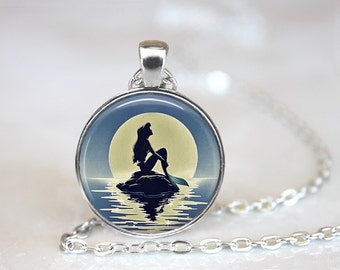 Mermaid Silhouette Glass Pendant, Photo Glass Necklace, Glass Keychain, Glass Jewelry