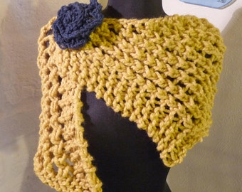 HAND KNITTED Cornflower Shawl Scarf