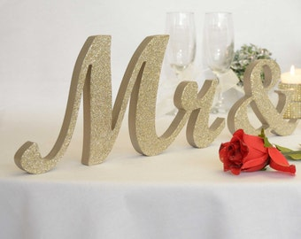 Champagne Glitter  Mr.; &; Mrs.; letters wedding table decoration, freestanding Mr and Mrs signs for sweetheart table