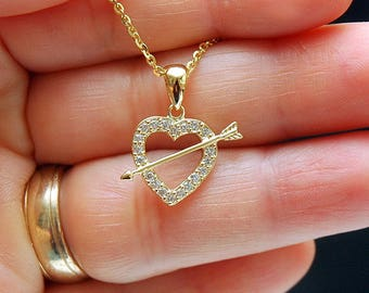 Heart Necklace, Gold Heart Pendant, Valentines Day Gift, Silver Diamond Accent Heart Necklace, Dainty Heart & Arrow Charm Necklace