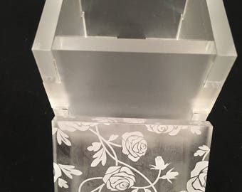 Acrylic Stitch and Progress Marker Box - Frosted Clear or Hot Pink