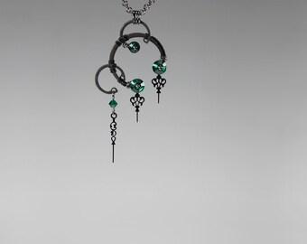 Green Steampunk Pendant, Emerald Swarovski Crystal Necklace, Statement Jewelry, Green Crystal Jewelry, Bridal Jewelry, Eirene v14