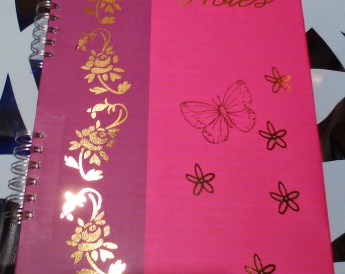 Featured listing image: Butterfly and Flowers Foiled A4 Notebook Guestbook Photo Album Scrapbook