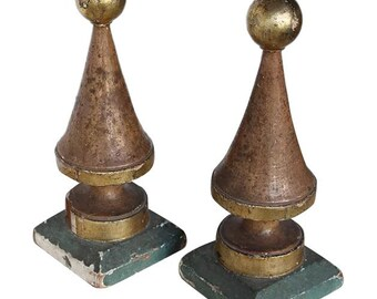 Original Portuguese 18th Century Carved Wooden Gilt Finials from an Altar, Religious