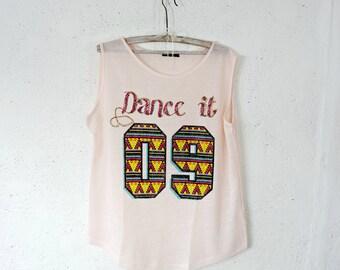 Blush Petal Pink Tshirt Ladies Summer  Sleeveless Nuber Print 09 Top Large L