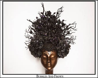 Black Blossom.... Floral Black Headdress with Rhinestones Flowers Banches