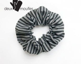 Gray stripped Upcycled hair accessory, scrunchie