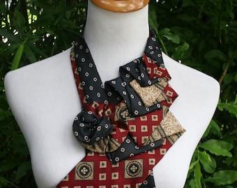 RecycledNeckties ~ Necktie Necklace - Navy BLUE Floral Silk Tie / Burgundy RED Silk Tie - Women's Silk Necktie - Necktie Scarf - Silk Scarf