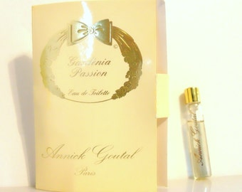 Vintage 1980s Gardenia Passion by Annick Goutal 0.07 oz Eau de Toilette Sample Vial on Card PERFUME