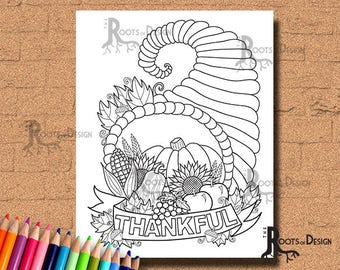 INSTANT DOWNLOAD Thanksgiving Cornucopia Coloring Coloring Page Print, doodle art, printable