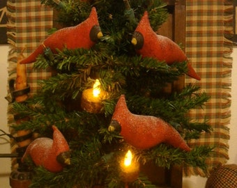 Primitive Cardinals with snow glitter Set of 5 ornies/tucks