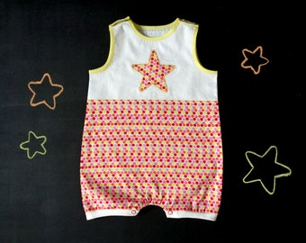 Baby romper, polka dot cotton, star applique, girl romper, baby shower gift, white pink yellow orange red, mom to be, newborn summer outfit