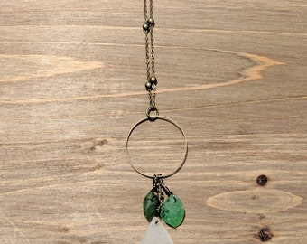 Geen and white seaglass necklace