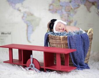 Crocheted Baby Aviator Hat, Newborn Photo Prop,  Pilot Hat, Aviator Cap