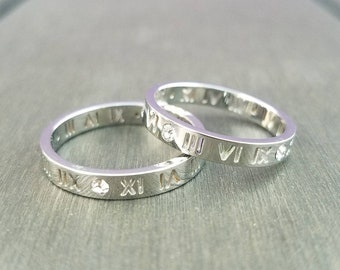 Silver Roman Numerals Hollow out Lucky Numbers Ring with crystal size 7, 8