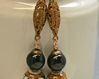 Vintage Chinese Porcelain Bead Amber White Dangle Drop Earrings, Vintage Black Onyx Bead, Vintage Copper Filigree Connector - GIFT WRAPPED