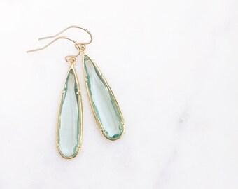 MACIE | Stone Teardrop Earrings | Sea Green Glass Teardrop Earrings | Sea Green + Gold Teardrop Earrings | Bridesmaid Earrings | Sea Green