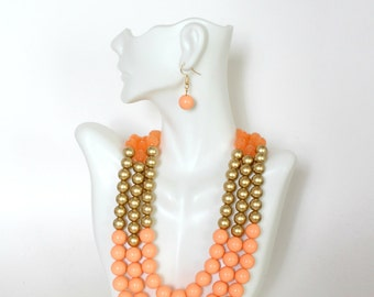 Multi Strand Necklace Bib Necklace, Peach Necklace, Gold Necklace, Summer Necklace, Colorful Pearl Necklace, Gift for Her