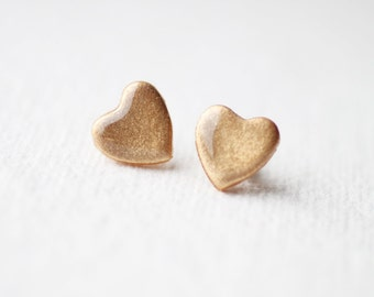 Pale Gold Shimmer Heart Stud Earrings, post earrings BUY 2 GET 1 FREE