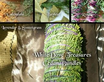"Cedar Smudge Bundle - Organic Herbal Blend House Blessing ~ Rose Calendula Lavender Sweetgrass Juniper - New Mexico Fresh Harvest 7"" Fat"