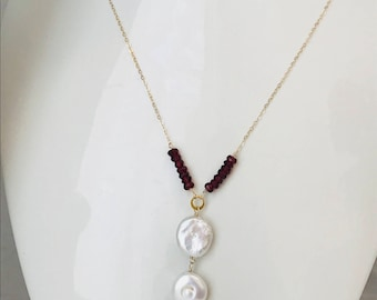 Pearl Necklace White Coin Pearl and Garnet Necklace Long Y Necklace Grandmother Gift Red Gemstone Jewelry January Birthstone Gift for Her