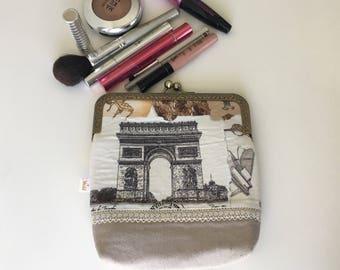 Paris fabric purse - Vintage cosmetic pouch -make up organizer - toiletry bag-travel case- necessaire - Women's gift