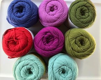 LION COTTON YARN - Discontinued - Large skeins - Solid color selection - De-Stash Stock - 1 Skein