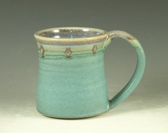 Ceramic mug with large Handle, turquoise, wheel thown (12oz)