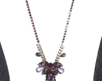 Vintage Purple Rhinestone Center Cascade Necklace
