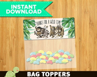 Where the Wild Things Are Bag Toppers - Snack Topper - Where the Wild Things Are Party Theme Treat Bag Toppers