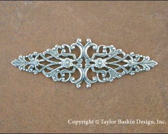 Antiqued Sterling Silver Plated Dapped Victorian Filigree Barrette, Pin or Pendant Component (item 800 AS) - 2 Pieces