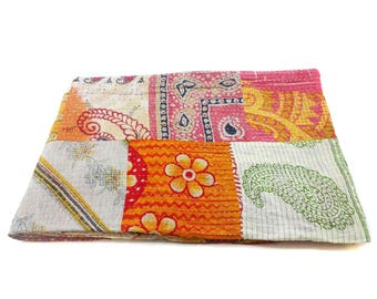 Kantha Quilt Indian Cotton Bedspread Bedding with running threads ,bed throw , twin bedding ,Cotton Bedspread Saree Throw Bedding Cover