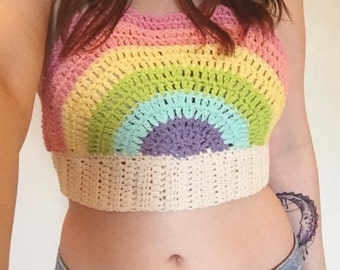 Rainbow crochet crop top | womens festival top | festival crop top | gay pride crop top | rainbow crop top | rainbow top