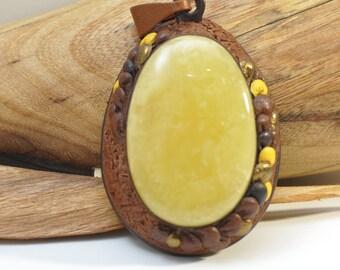 Baltic amber, leather, pendant, gift idea